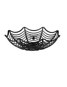 Saladier toile d'araignée 27 cm Halloween : Ce saladier d'Halloween est en forme de toile d'araignée. Il est de couleur noir.Deux araignées aparaissent sur les bords du saladier. Il mesure environ 27 cm de...