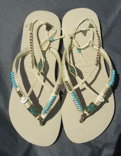 4b6cefd3c1405c Decorated Turquoise   Bronze Gold Beaded Flip Flop Sandals based on Light  Beige Havaianas Flats - 10