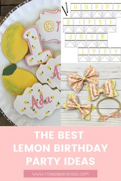 The best ideas for hosting a Lemon Birthday Party for kids. Lemonade Birthday Party ideas including invitations, cookies, outfits, and decorations. Kids Birthday Themes, Birthday Banners, Birthday Invitations Kids, 2nd Birthday Parties, Boy Birthday, 1st Birthdays, Holiday Cards, Balloons, Lemon