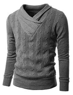Herren ger?schter Rollkragen Pullover Grau (KS01) L