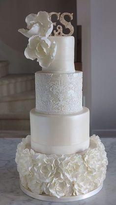Romantic floral ruffle wedding cake!