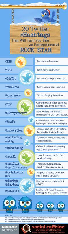 20 Twitter Hashtags That Will Turn You into an Entrepreneurial Rock Star #B2B #RunYourBiz #TwitterRocks