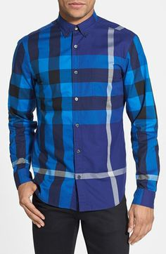 Burberry Brit 'Fred' Check Trim Fit Sport Shirt available at #Nordstrom