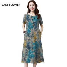 0dca974292c cotton linen plus size floral print clothes women casual loose midi summer  dress vestidos femininos 2018 dresses-in Dresses from Women s Clothing ...