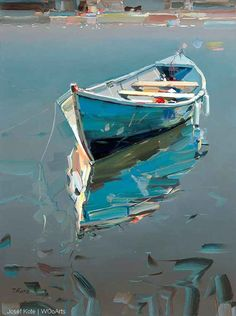 Row boat and reflection ?club : Row boat and reflection ?, : Row boat and reflection ? Art Painting, Oil Painting, Art, Sailboat Painting, Beach Art, Canvas Painting, Seascape Paintings, Boat Painting, Landscape Art