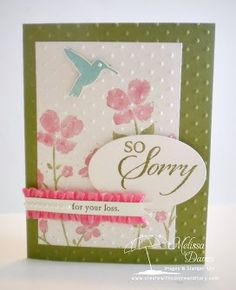 SU!pplies: Stamps: Wildflower Meadow, So Sorry Ink: Strawberry Slush, Old Olive, Pool Party Paper: Old Olive, Very Vanilla Accessories: Oval framelits, Strawberry Slush ribbon, Basic Pearls, Perfect Polka Dots embossing folder