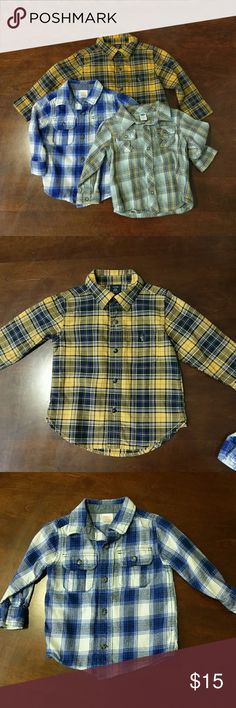 Bundle of plaid long sleeve button down 18-24 mo All size 18-24 months. Yellow plaid is baby Gap (never worn) blue and white is Gymboree (EUC), yellow and gray is Old Navy (EUC). the gap and old navy shirts are flannel, the Gap is a lighter weight cotton. No trades please. GAP Shirts & Tops Button Down Shirts