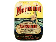 1940 Mermaid Brand Sardine Label