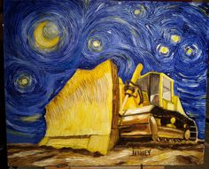 I did another painting for my son who likes constructions equipment. And the stars. And the moon.