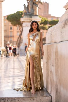 Gold Formal/Prom Gown - Alamour The Label Grad Dresses, Ball Dresses, Ball Gowns, Formal Dresses, Formal Prom, Satin Dresses, Gold Formal Dress, Gold Gown, Satin Gown