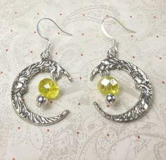 Moon Charm Dangle Earrings with yellow czech bead by beadwizzard, $11.50