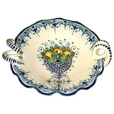 CERAMICHE D'ARTE PARRINI - Italian Ceramic Art Pottery Serving Bowl Centerpieces Hand Painted Decorative Lemons Made in ITALY Tuscan. Ceramic Bowl for any use . Decorations branches of lemon trees and flowers, on cobalt blue scratched, with side trim of blue curls --Net weight Kg.1,000, Dimensions: (11,80 Inch ) x (10,23 Inch) --All our products are lead-free and can be used for foods, can go in the dishwasher and in the microwave-You can ask any other customization, buy directly from the...