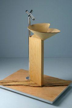 Stylish and Luxury Wooden Washbasin : Elegant Wooden Washbasin With Stainless Sink And White Floor Unique Bathroom Sinks, Bathroom Basin, Modern Bathroom, Sink Design, Wall Design, Corian Sink, Washbasin Design, Wood Sink, Wall Mounted Sink