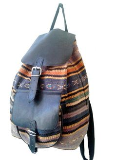 KILIM and LEATHER BACKPACK by lesclodettes on Etsy, $65.00