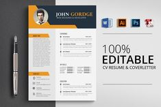 Word Job CV Resume Template by Psd Templates on College Resume Template, Resume Design Template, Creative Resume Templates, Cv Template, Psd Templates, Design Templates, Resume Skills Section, Resume Words Skills, Resume Writing Tips