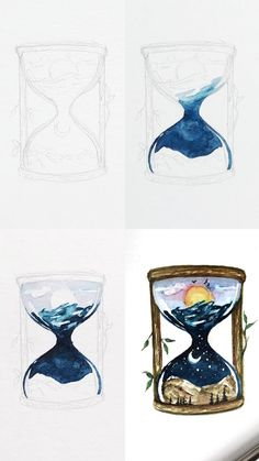 A mini tutorial of a watercolor hourglass illustration with step by step process photos. A mini tutorial of a watercolor hourglass illustration with step by step process photos. Illustrator Tutorial, Sketches Tutorial, Watercolor Drawing, Painting & Drawing, Watercolor Paintings, Drawing Drawing, Watercolor Illustration Tutorial, Biology Drawing, Drawing Step