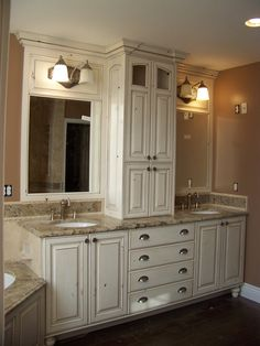 smaller area for double sinks - but I like the storage cabinet in-between                                                                                                                                                                                 More Cabinet Ideas, Double Vanity, Bathroom Cabinets, Bath Cabinets, Double Sink Vanity, Bathroom Cupboards, Bathroom Storage Cabinets