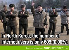 Internet in North Korea is being monitored at all times. This is what makes the number of internet users so low. The government can do basically whatever it wants to control your internet and what you are searching/doing.