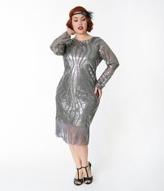 6e41232d479 Unique Vintage Plus Size Silver Pewter Sequin Sleeved Jocelyne Flapper  Dress Plus Size Flapper Dress
