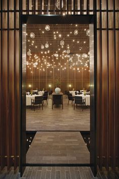 The double-height main dining room in Neri & Hu's Feast restaurant complex, located in Shenzhen, China.
