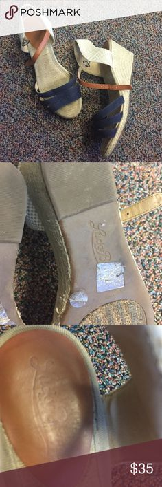 Lucky brand blue espadrille wedge sandals Perfect to wear with denim jeans ; good condition Lucky Brand Shoes Espadrilles