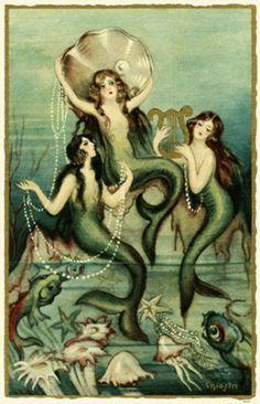 vintage mermaid art - clam shell