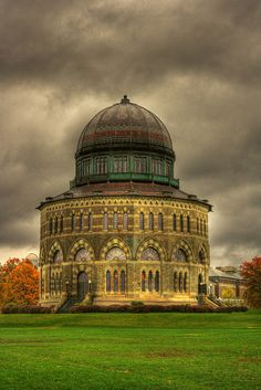 Nott Memorial Hall, Union College, Schenectady, New York is a 16-sided stone-masonry structure and a National Historic Landmark.  by Daniel Mennerich