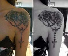 Roses and a Rosary Tattoo! Shoulder on to arm piece, done in black and grey!
