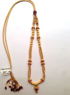 Antique Gold Handmade Wax Beads Wax Mala Kolhapur 916 weight 8-10 Grams Code SMJ 14
