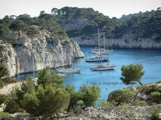 Creeks (Calanques): Creeks (Calanques) massif lined with pines and sea where parked sailboats - France-Voyage.com