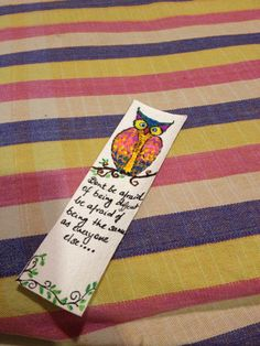 Owl Bookmark... With words perfect for a birthday favour