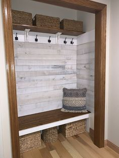 Foyer closet turned into a mud room space. - Foyer closet turned into a mud room space. Front Closet, Closet Mudroom, Entry Closet Organization, Closet Bench, Hallway Closet, Home Renovation, Home Remodeling, Cheap Home Decor, Diy Home Decor