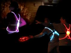 Fiber Optic Athletic Gear: Stay visible while running or cycling at night with our multicolored illuminated vests.