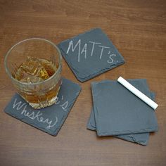 Chalkboard Slate Coasters ($20) ❤ liked on Polyvore featuring home, kitchen & dining, bar tools, slate drink coasters, personalized chalkboard, drink coasters, personalized coasters and slate coasters