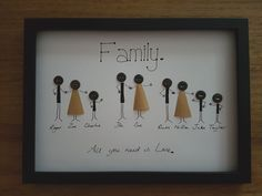 This is a handmade button family tree picture A4 with frame. Either Black or Grey frame. This item will be made to your requirements, so please let me know the names/nicknames, sex of the people, any interests, adult or child, and where you want them to be. I can also write any message, saying you would like, 'Happy Birthday'. 'The Smith Family', 'Family', 'The Smiths', 'All You Need is Family', just let me know. Payment: PayPal immediate payment i...