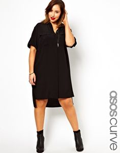 ASOS CURVE Exclusive Shirt Dress With Military Detail