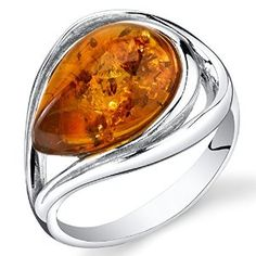 Baltic Amber Tear Drop Ring Sterling Silver Cognac Color available at joyfulcrown.com