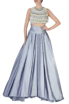 Shop Manish Malhotra - Grey pleated lehenga with tassled blouse Latest Collection Available at Aza Fashions Manish Malhotra Designer Dresses, Manish Malhotra Bridal, Manish Malhotra Lehenga, Special Dresses, Nice Dresses, Couture Dresses, Fashion Dresses, Fashion Styles, Lengha Blouse Designs