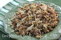 A simple stir fry of ground beef, cabbage and rice, it's quick, easy and delicious!