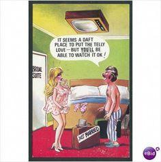 Vintage Bamforth Postcard Just Married - Honeymoon couple Funny Cartoon Pictures, Cartoon Jokes, Sexy Cartoons, Cartoon Characters, Funny Vintage Ads, Vintage Humor, Super Funny, Really Funny, Funny Postcards