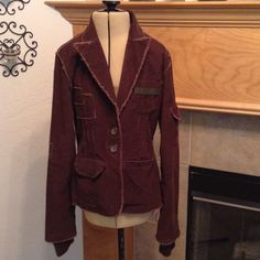 WET SEAL-CORDUROY Lined with blue and white material-pockets -zippers on the sleeve-see pictures-very nice-no flaws-has a fake sleeve-see pictures Wet Seal Jackets & Coats Blazers