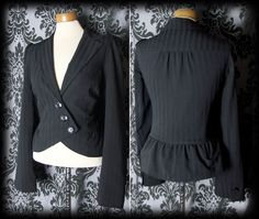 Goth Black Fitted BREATHLESS Peplum Riding Jacket Coat 14 16 Victorian Steampunk - £36.00