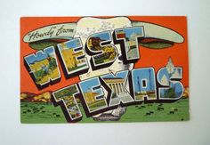 1940s Howdy From West Texas Linen Postcard by EC by TaMuidBeo, $7.00