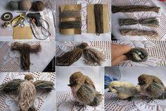 Yarn and stuff! — makinology: yarn birds … pretty amazing effect. Diy Laine, Crafts To Make, Arts And Crafts, Yarn Animals, Art Fil, Pom Pom Crafts, Bird Ornaments, Needle Felted, Bird Crafts