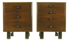 Pair of George Nelson for Herman Miller Walnut Commodes with Vanity Bridge 3