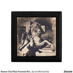 Kansas City Plaza Fountain Horse Sepia Jewelry Boxes