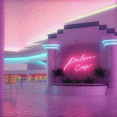 vaporwave bedroom Plaza Cafe by Grace Casas (grace_anim) : VaporwaveAesthetics New Retro Wave, Retro Waves, Neon Room, Neon Aesthetic, Led Neon Signs, Retro Futurism, Neon Lighting, Wall Collage, Aesthetic Pictures