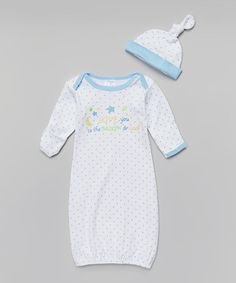 Another great find on #zulily! White & Blue 'Love You To the Moon' Gown & Beanie by Mon Cheri Baby #zulilyfinds