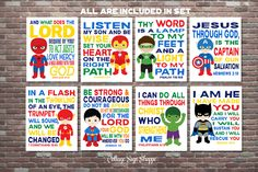 Kids Christian Art,Superhero Wall Art,Scripture Superhero Art,SET, INSTANT DOWNLOAD,Boys Superhero Scripture Art,Superhero Scripture by CottageArtShoppe on Etsy