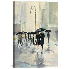 iCanvas 'City in the Rain - Avery Tillmon' Giclee Print Canvas Art (€54) found on Polyvore featuring home, home decor, wall art, art, bilder, pictures, ivory, giclee wall art, ink painting and canvas painting